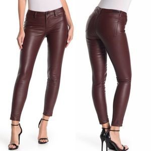 Blank NYC Faux Leather Skinny Pants Oxblood Red